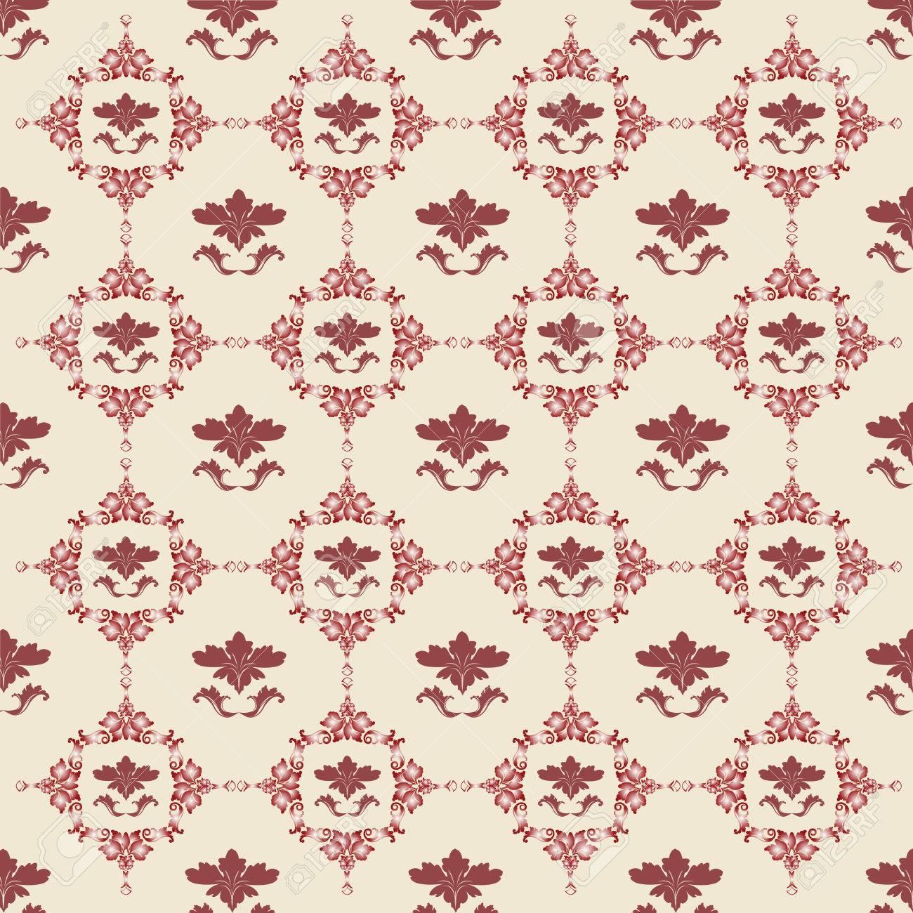 Vector floral background in red, Damask design Stock Vector - 5540152