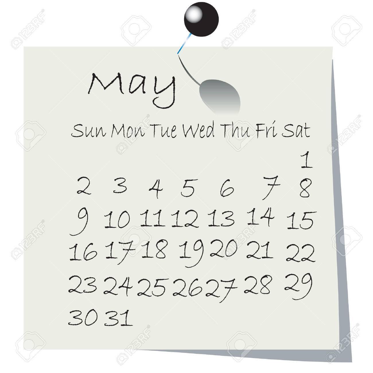 保持ピンで紙に手書き 10 年 5 月カレンダーのイラスト素材 ベクタ Image