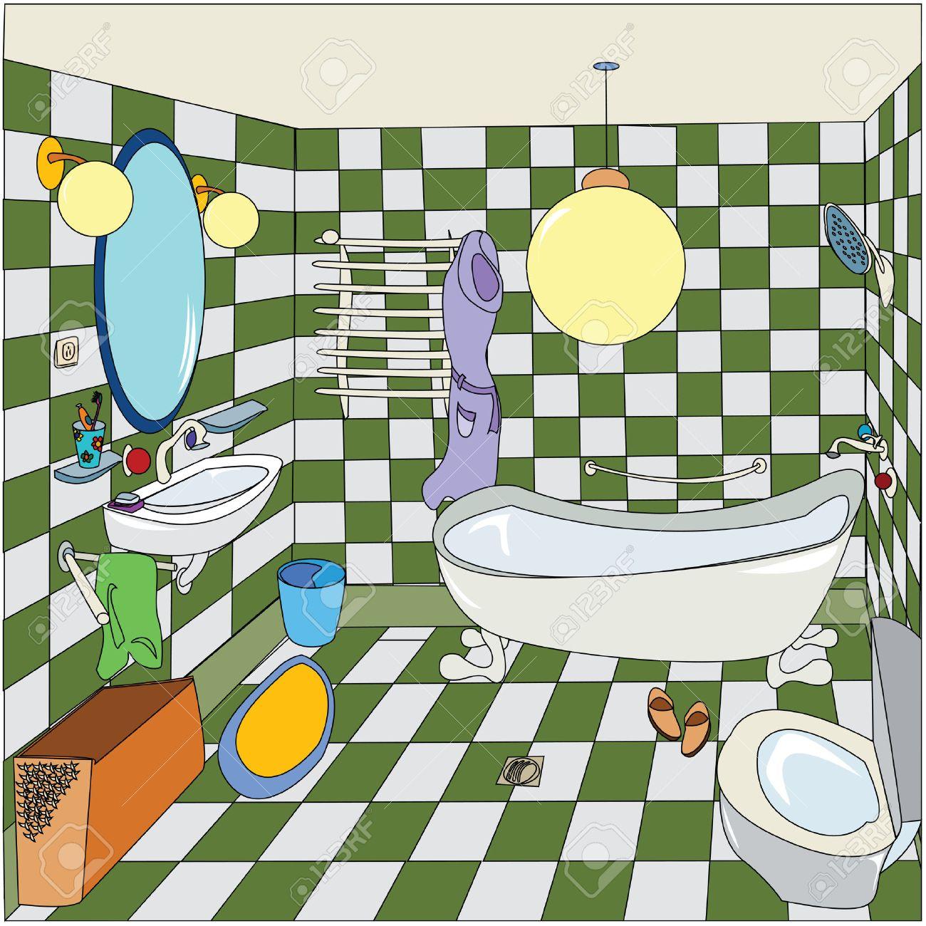 Salle De Bains Confortable Illustration De Dessin Animé Facile à - Salle de bain dessin