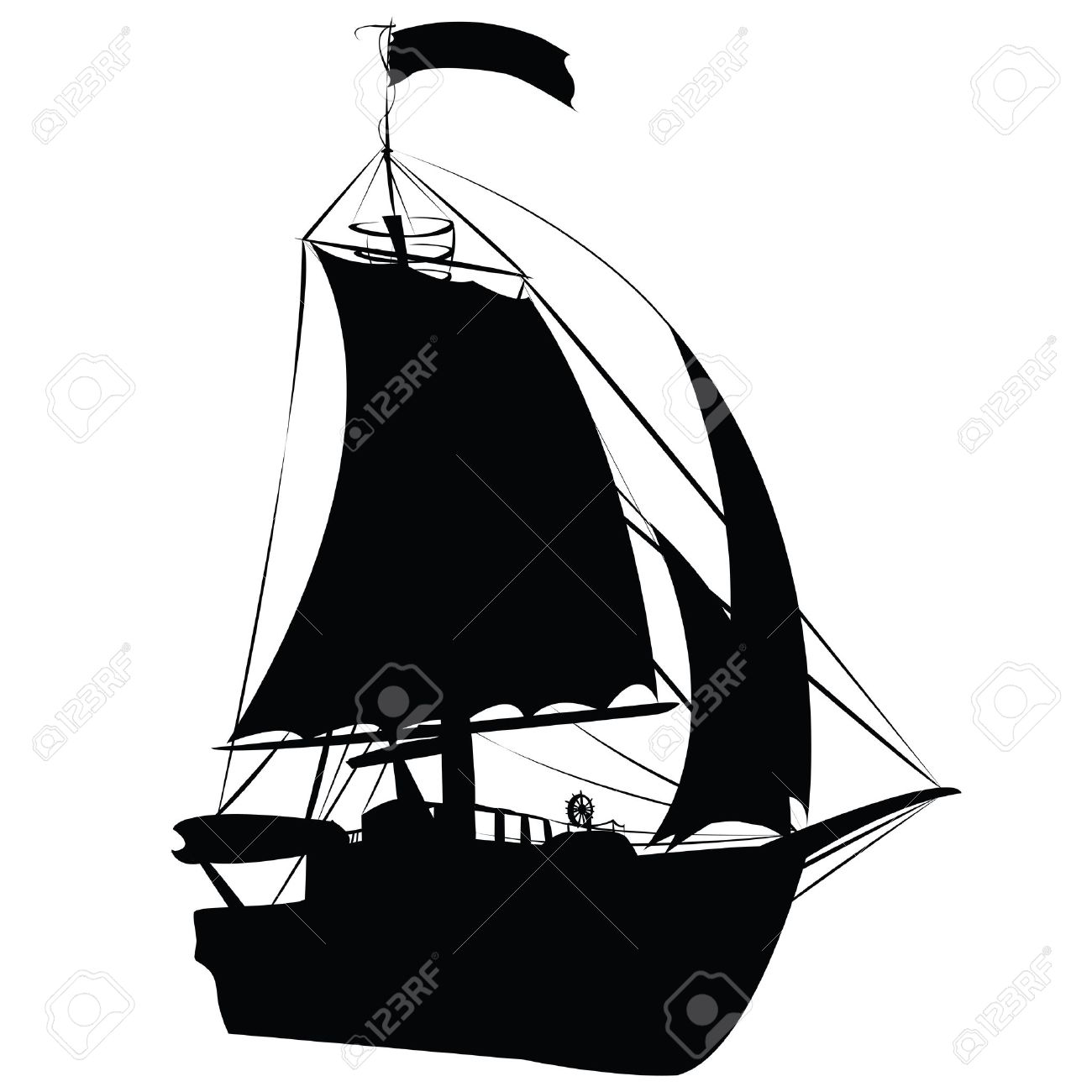 small sailing ship silhouette isolated on white background