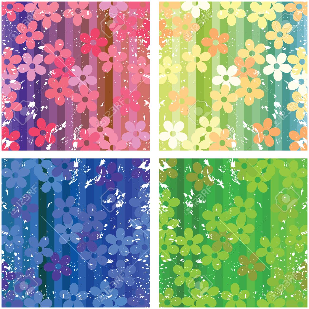 Floral textures with grunge filter for web design Stock Vector - 6057617