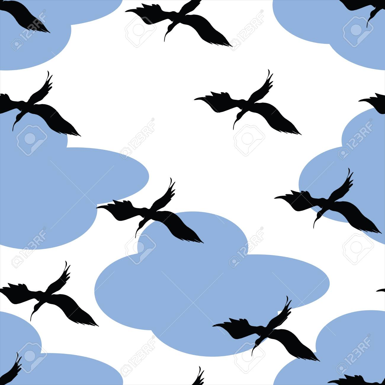 Birds and clouds pattern, easy to use, grouped and isolated objects for duplicate print Stock Photo - 6186952