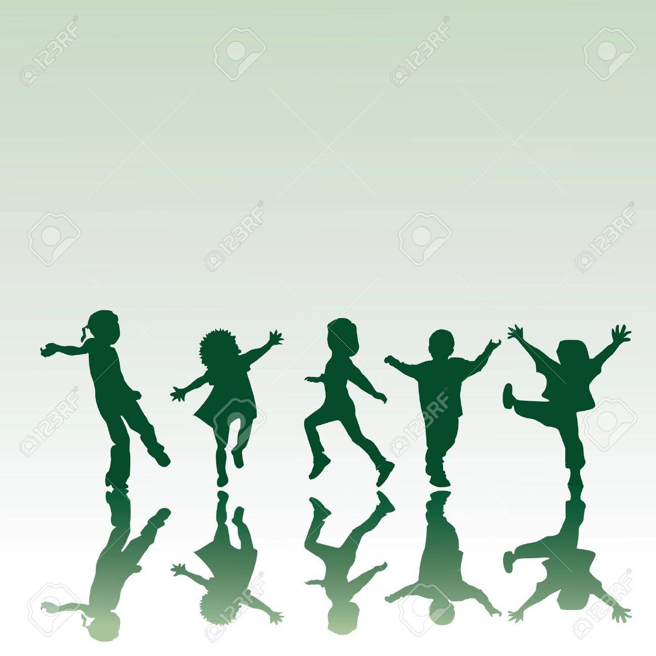 Five children silhouettes in different positions, illustration Stock Illustration - 6196308