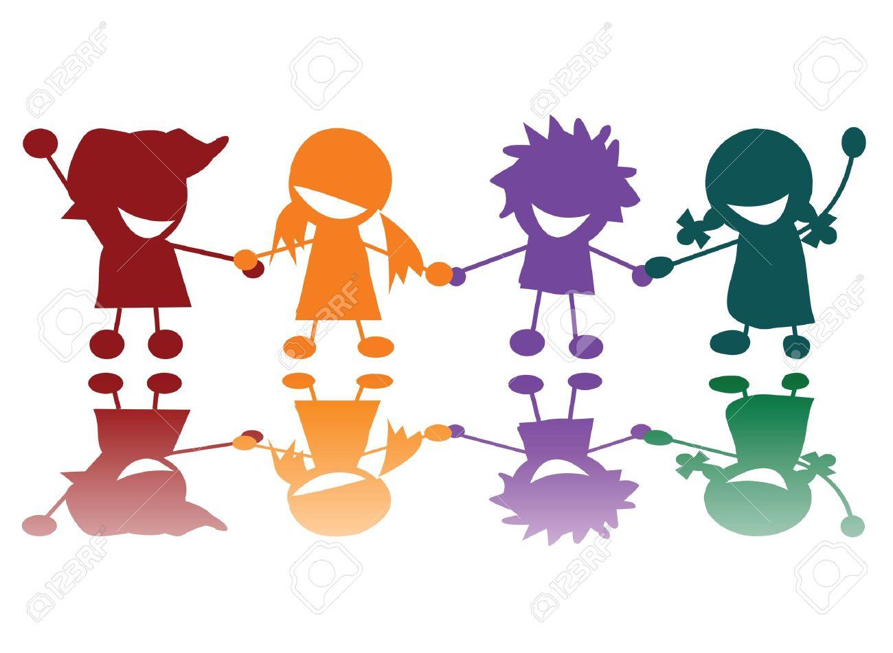 Happy children in colors, art Stock Photo - 6196628