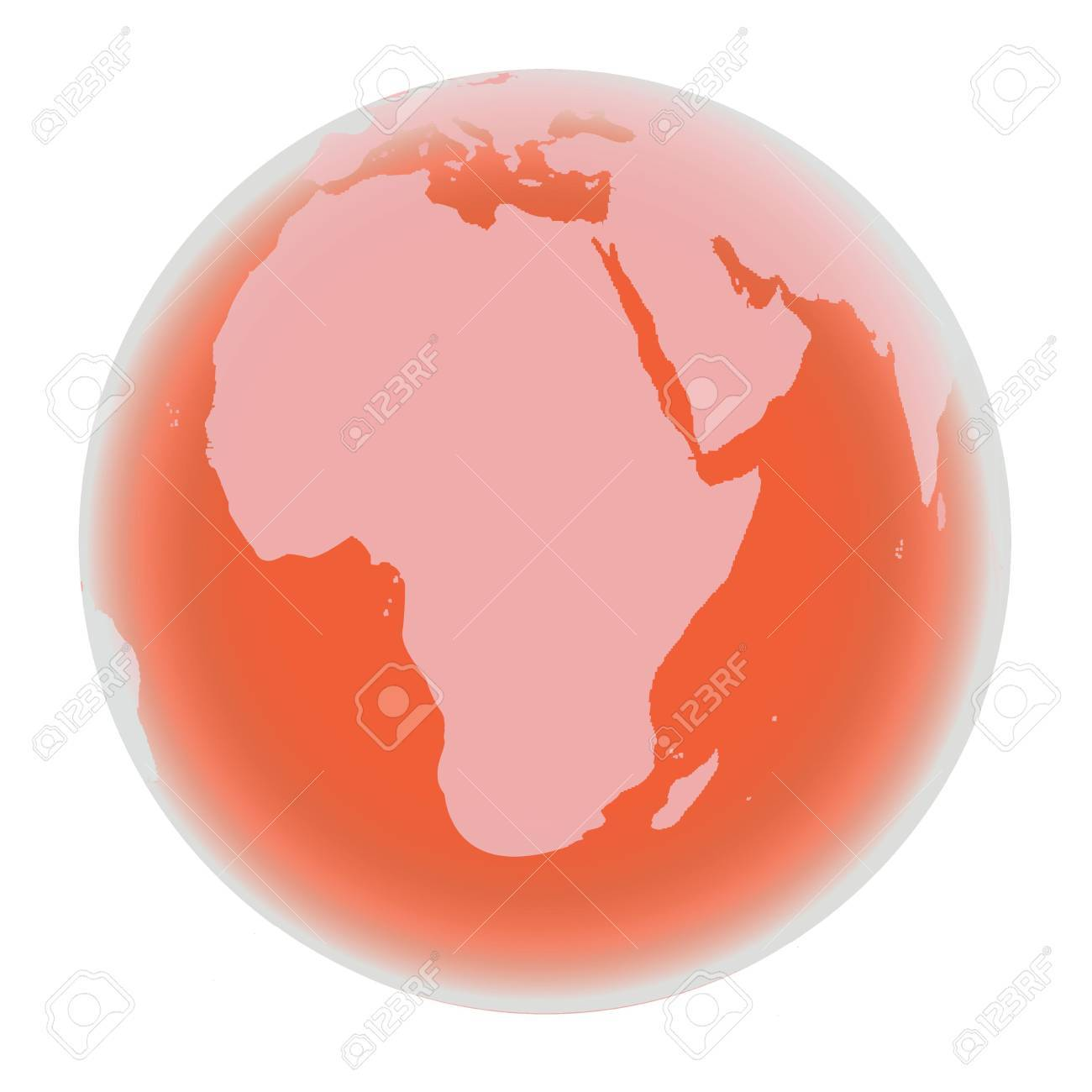 Planet Earth in bright red tones, isolated on white background Stock Photo - 6196594