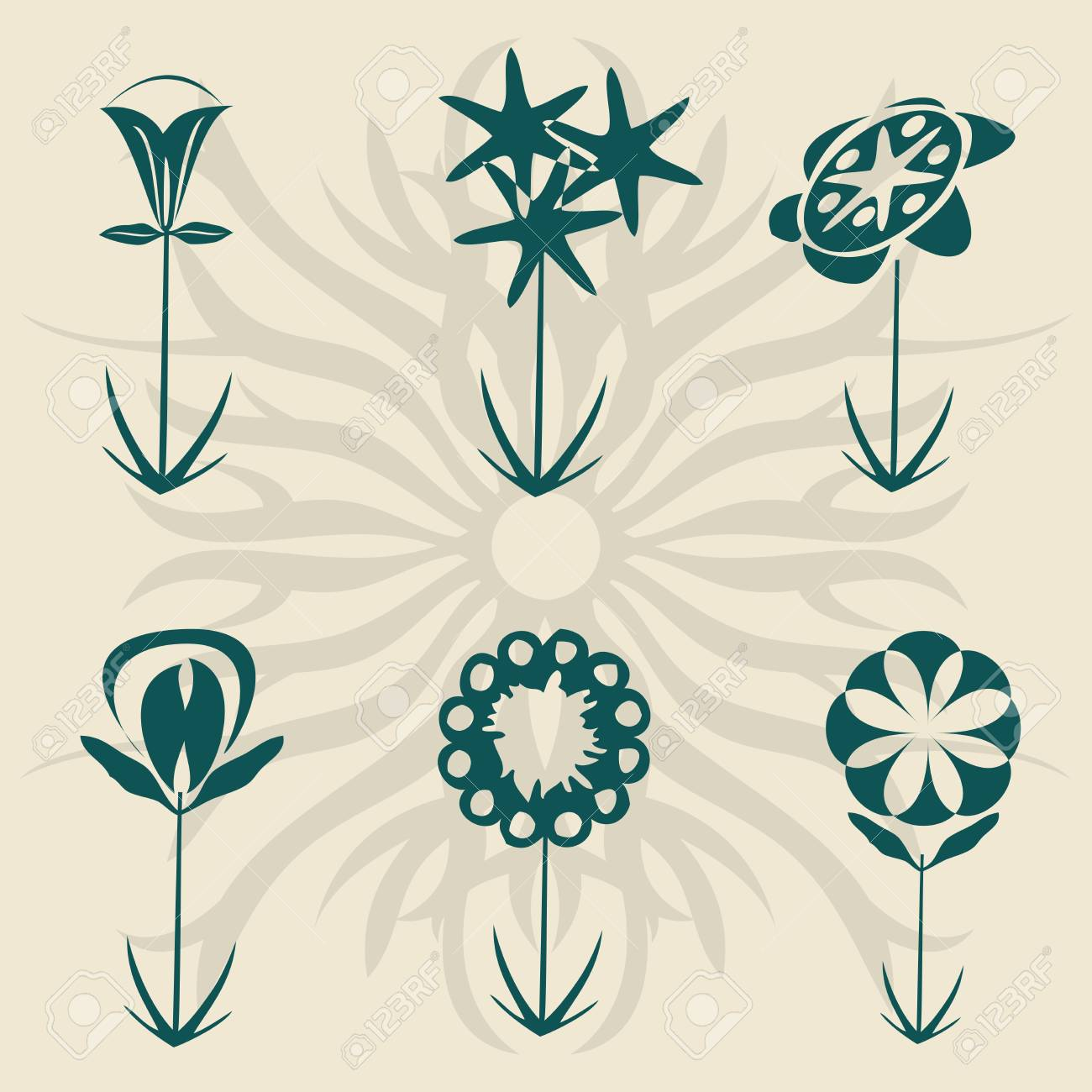 Retro flowers collection, vector isolated objects for easy design Stock Photo - 6196702