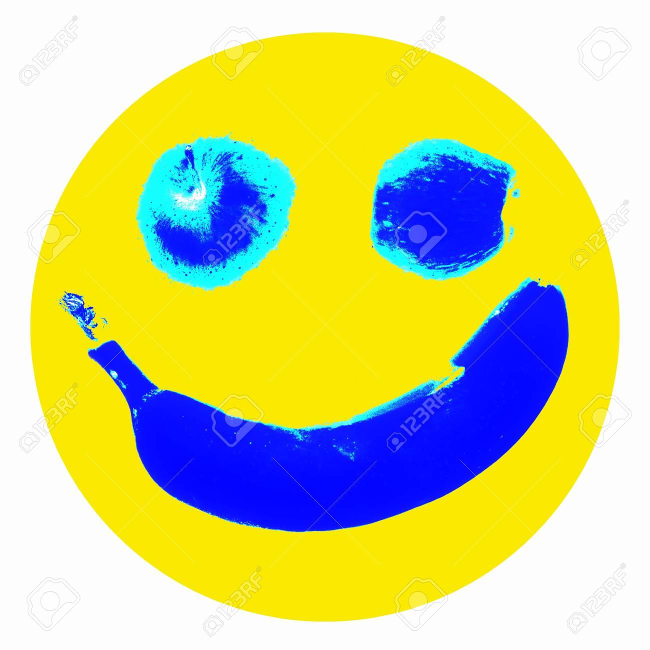 Smiley icon illustration, stylized fruit background for web design Stock Photo - 6186984