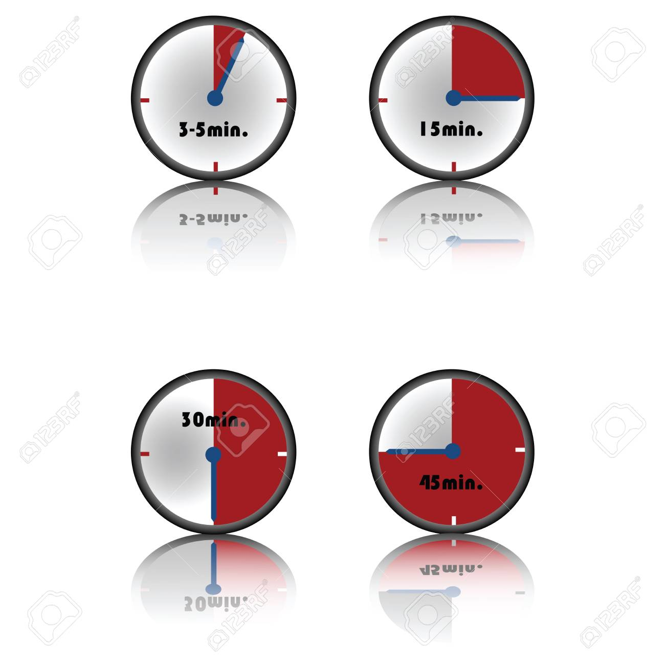 timer, collection of four different time on white background Stock Photo - 6197480