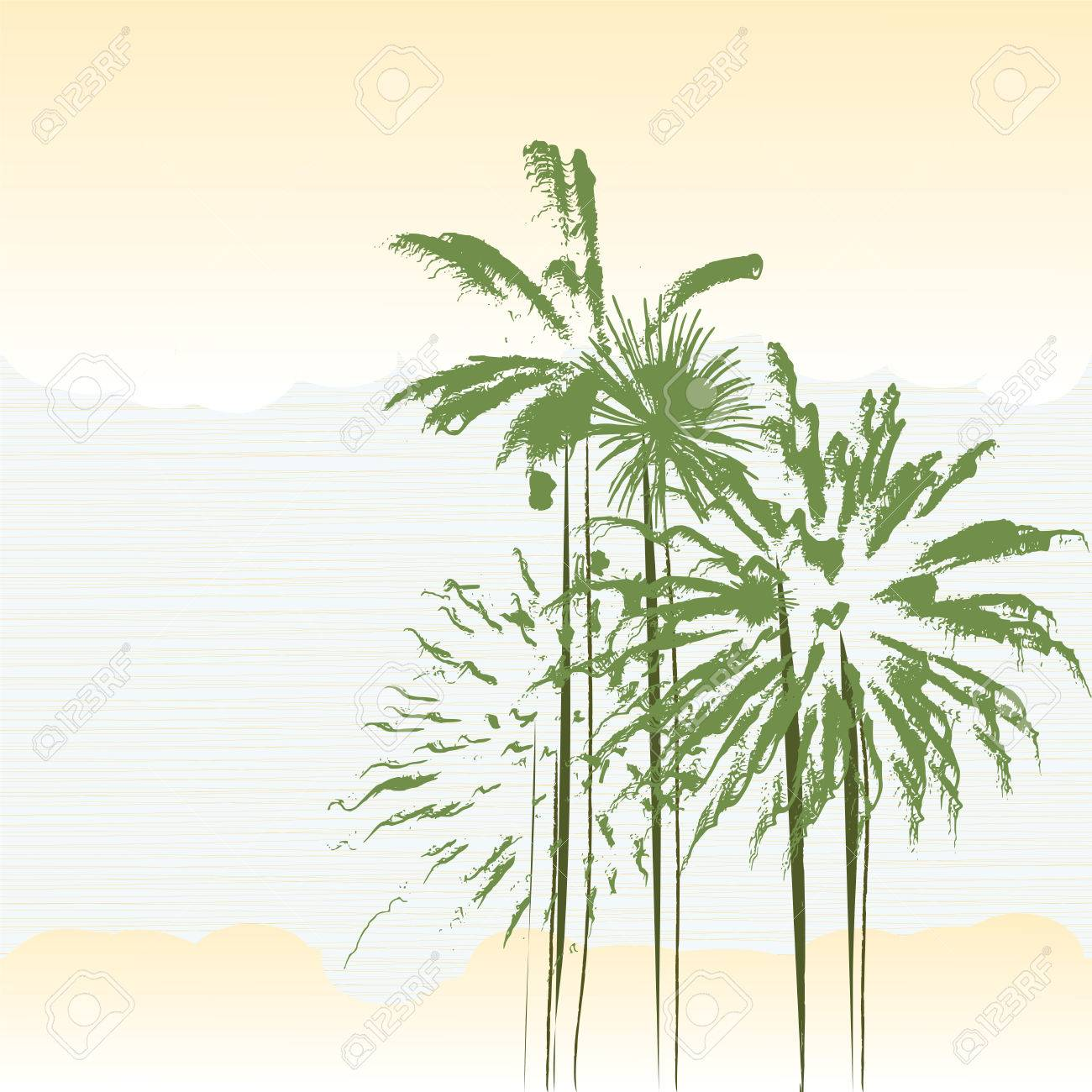 Stylized Palm Trees Background In Pastel Colors Royalty Free ...