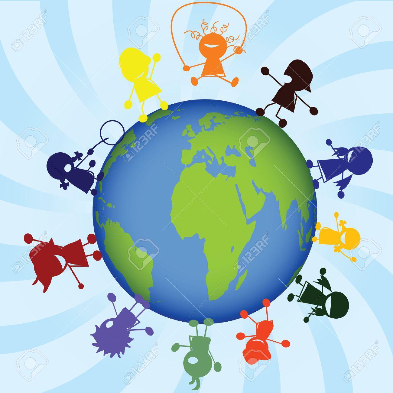 Childrens around the globe Stock Vector - 6290309
