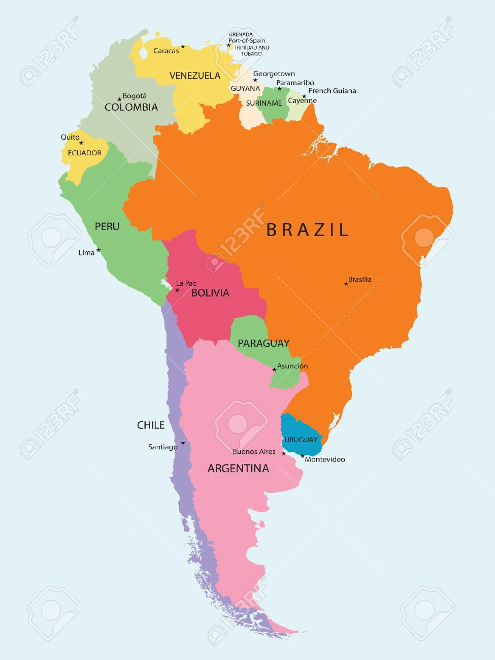 Detailed Map Of South America Vector Royalty Free Cliparts - South america argentina map