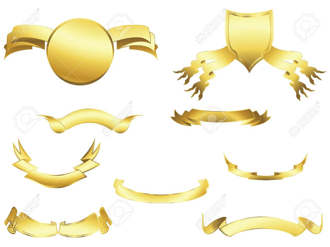 Shield and banner design elements over white background Stock Vector - 6387921