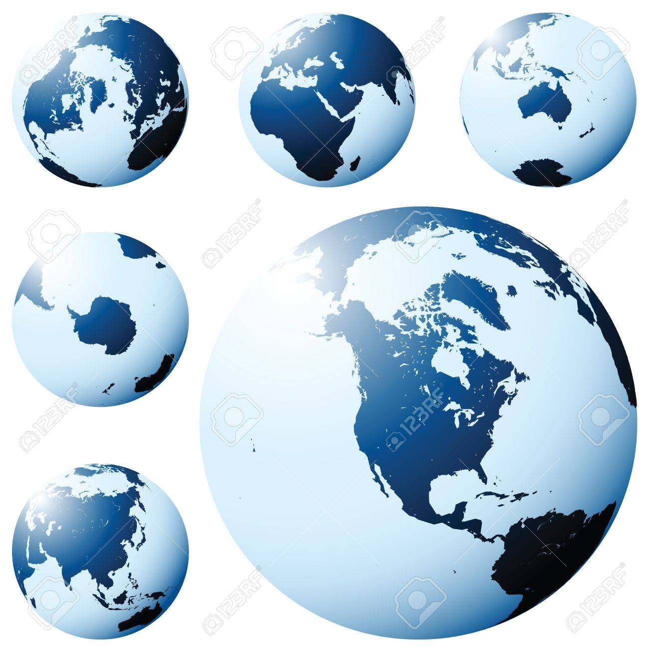 Planet Earth map from six views in blue Stock Vector - 6441990