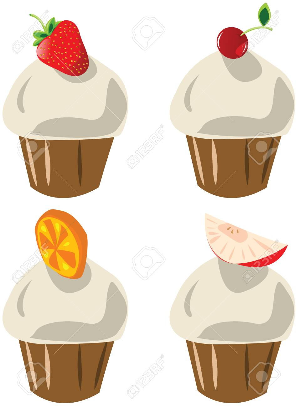 Tasty fruit cupcakes over white background Stock Vector - 6524871