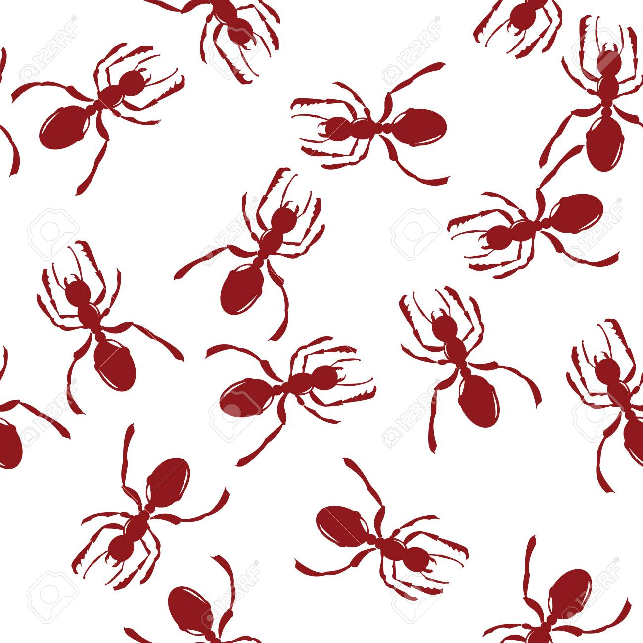 Pattern with red ants over white Stock Vector - 6564117