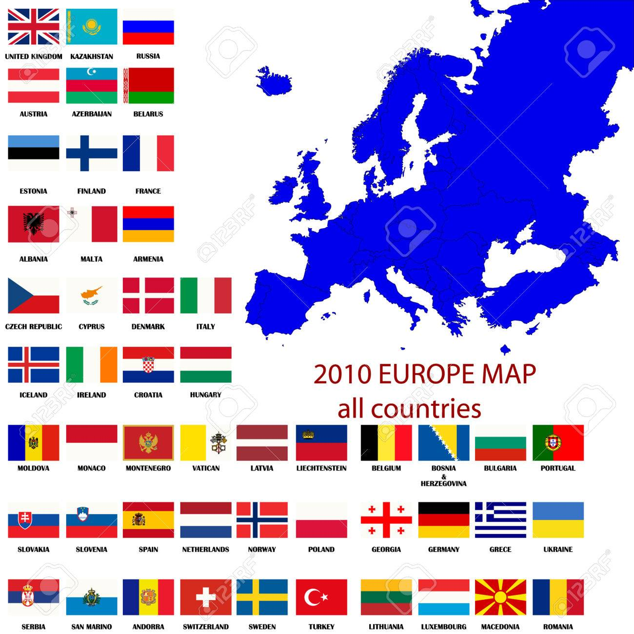 editable map of europe all countries with borders and oficial flags in original colors stock