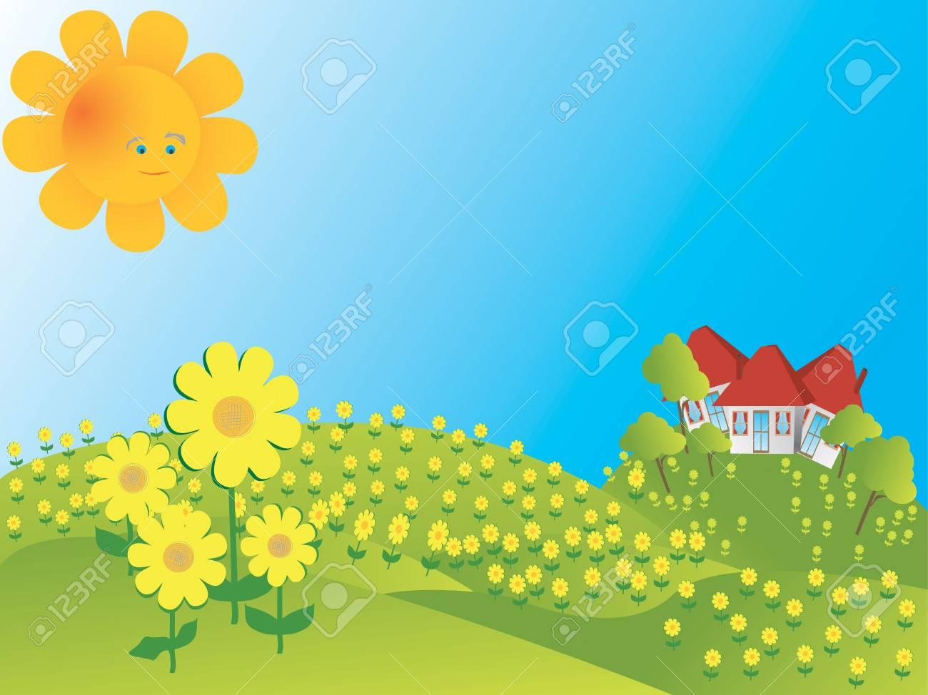 Background illustration with sunflowers Stock Illustration - 7072429