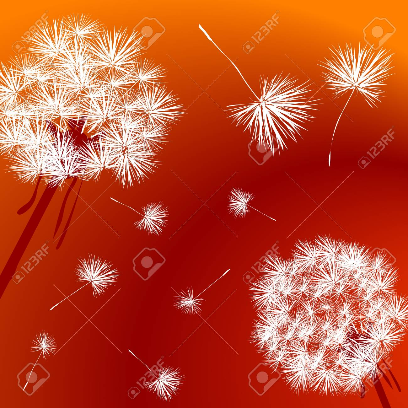 Dandelions over a bright red background Stock Photo - 7101287