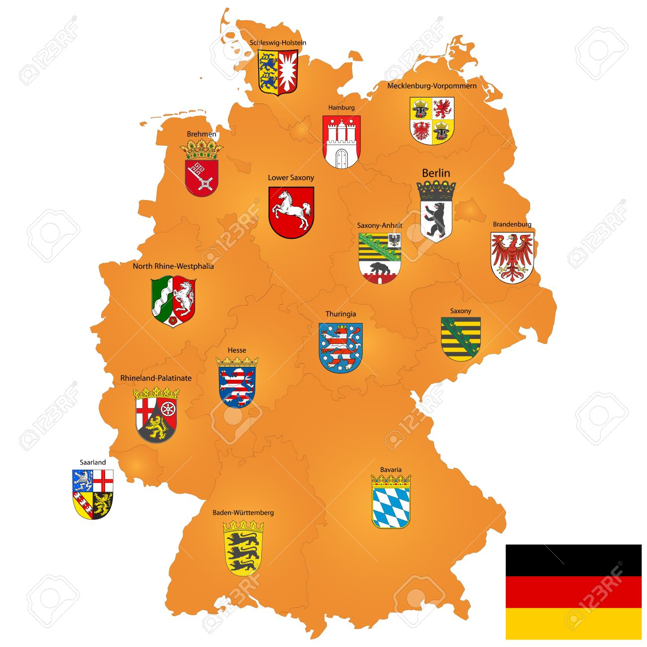 Detailed Map Of Germany With Coat Of Arms And Borders Stock Photo
