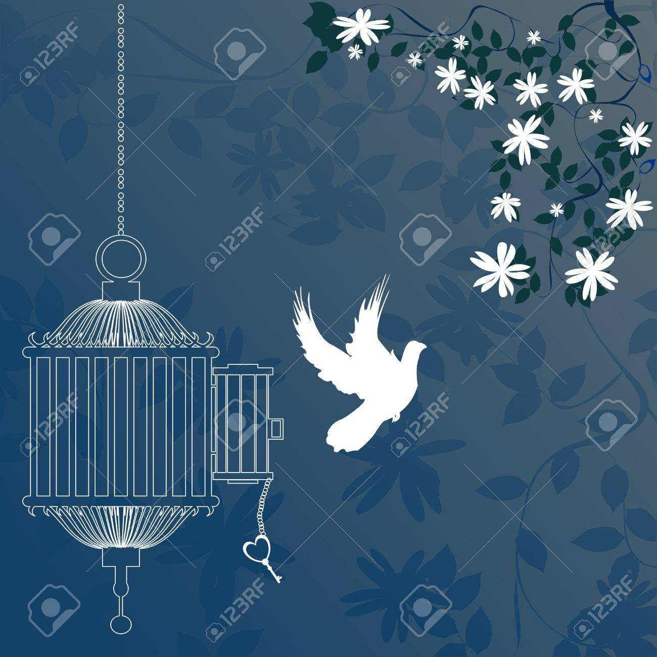 Bird and cage with cherry blossom tree Stock Photo - 7453863