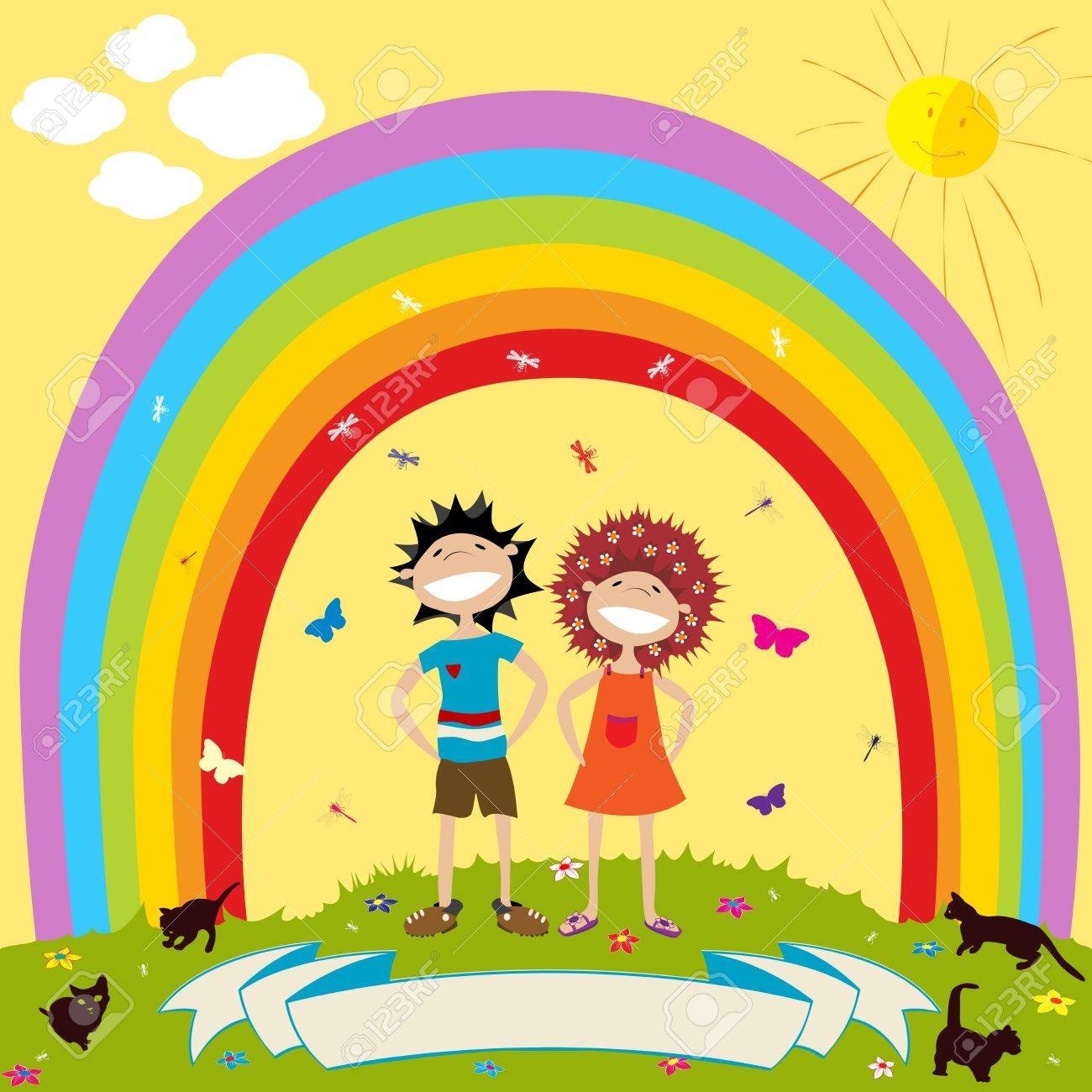 Children and rainbow with label for text Stock Photo - 7782777