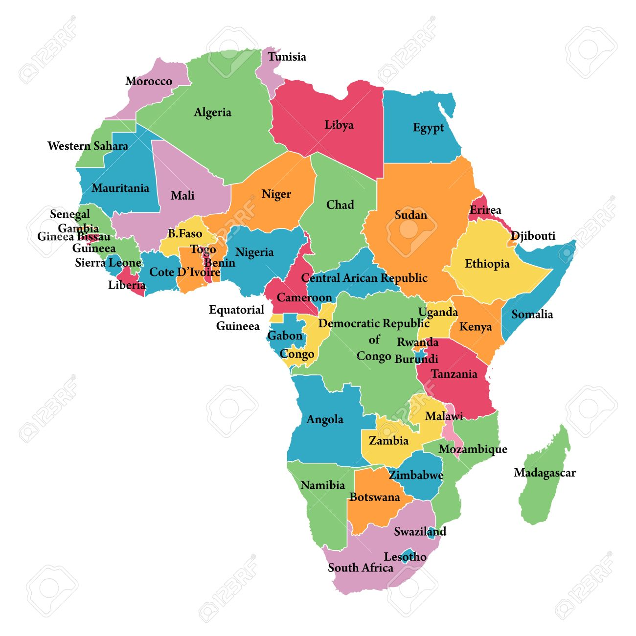 Editable Map Of Africa With Border Outlines Royalty Free Cliparts