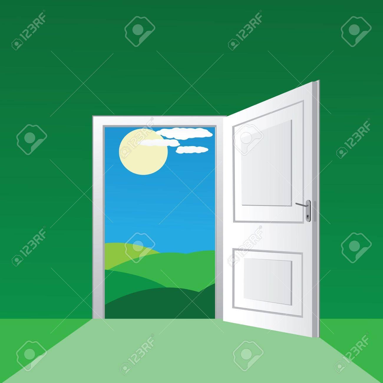 Inside front door clipart - Vector Open Door To A Sunny Field
