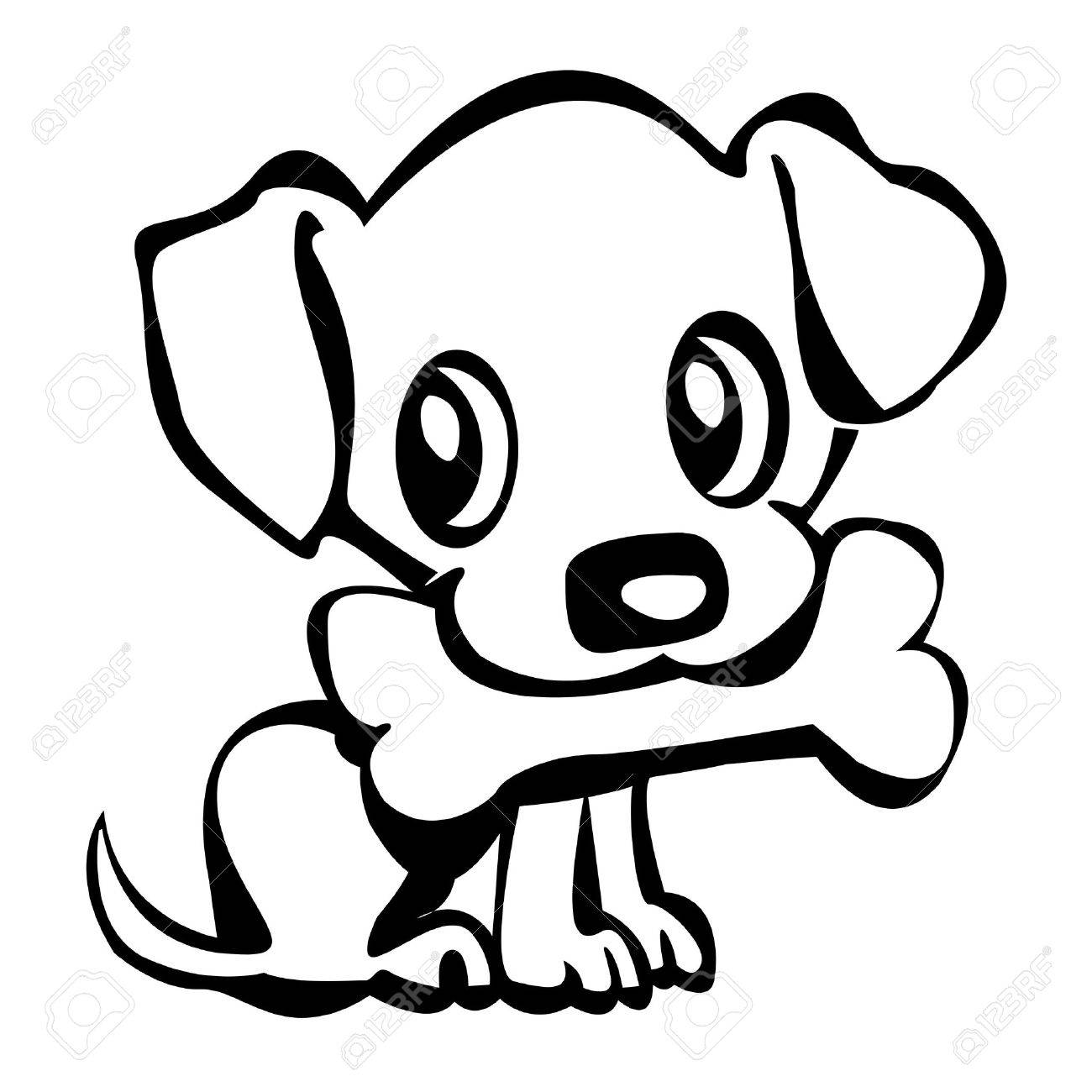 Outline Of A Cute Little Puppy Holding His Bone Royalty Free ...
