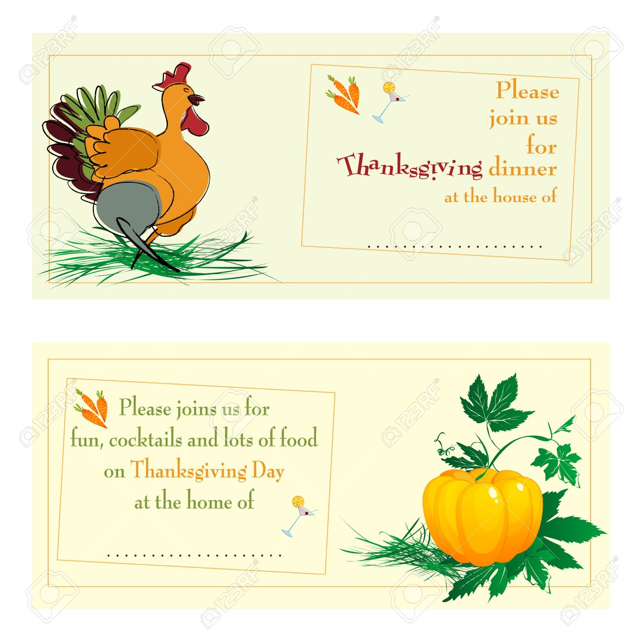 thanksgiving day dinner invitations against white background royalty