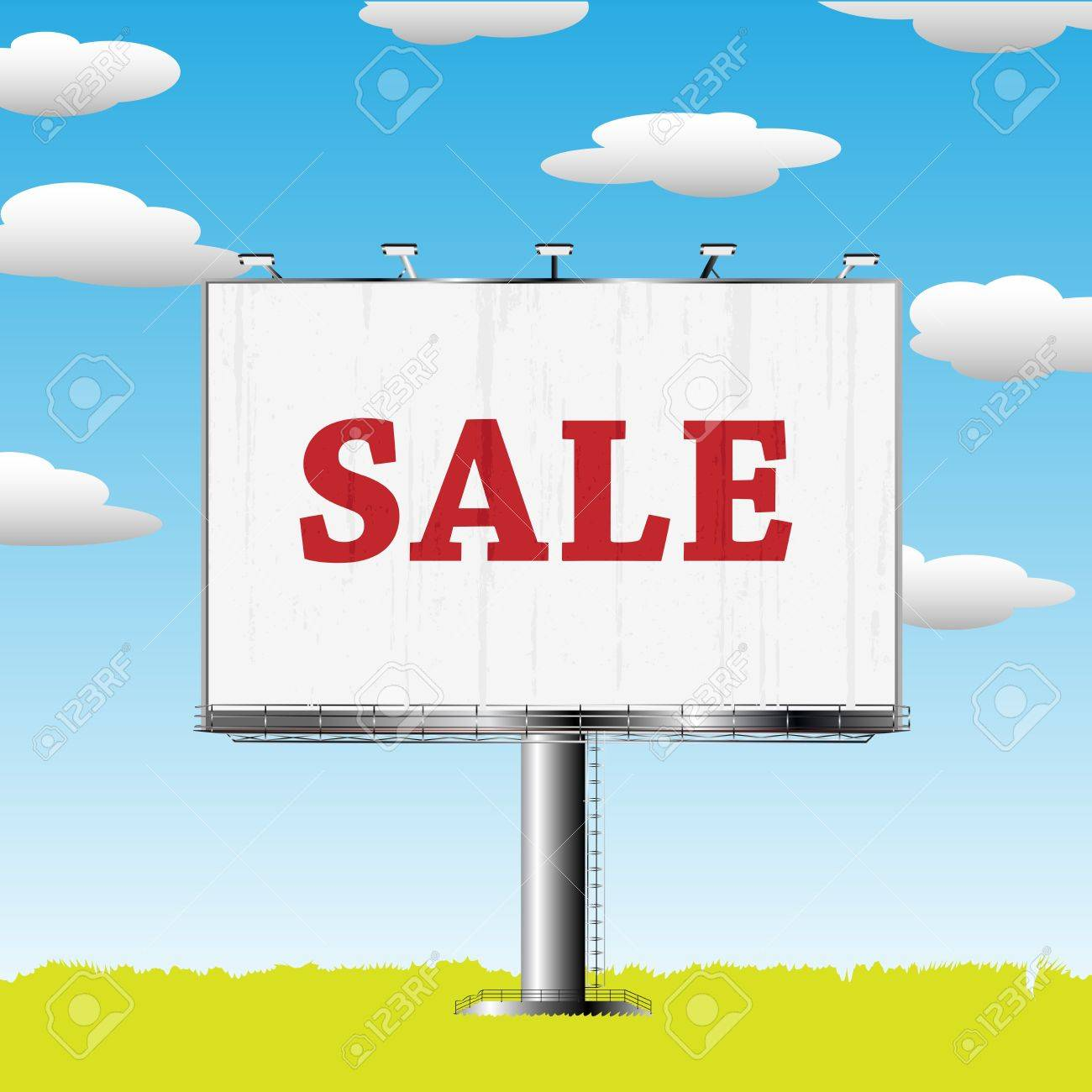 Grand outdoor billboard with sale sign over cloud backgrouns Stock Vector - 8146596