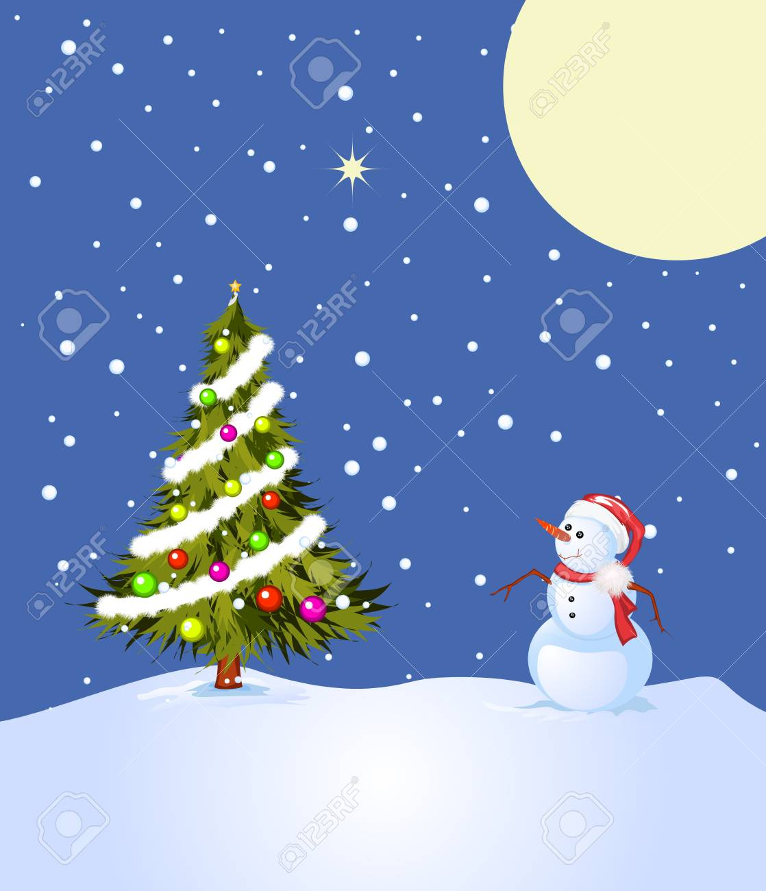 Holly night, illustration with snowman and decorated Christmas tree Stock Photo - 8467724