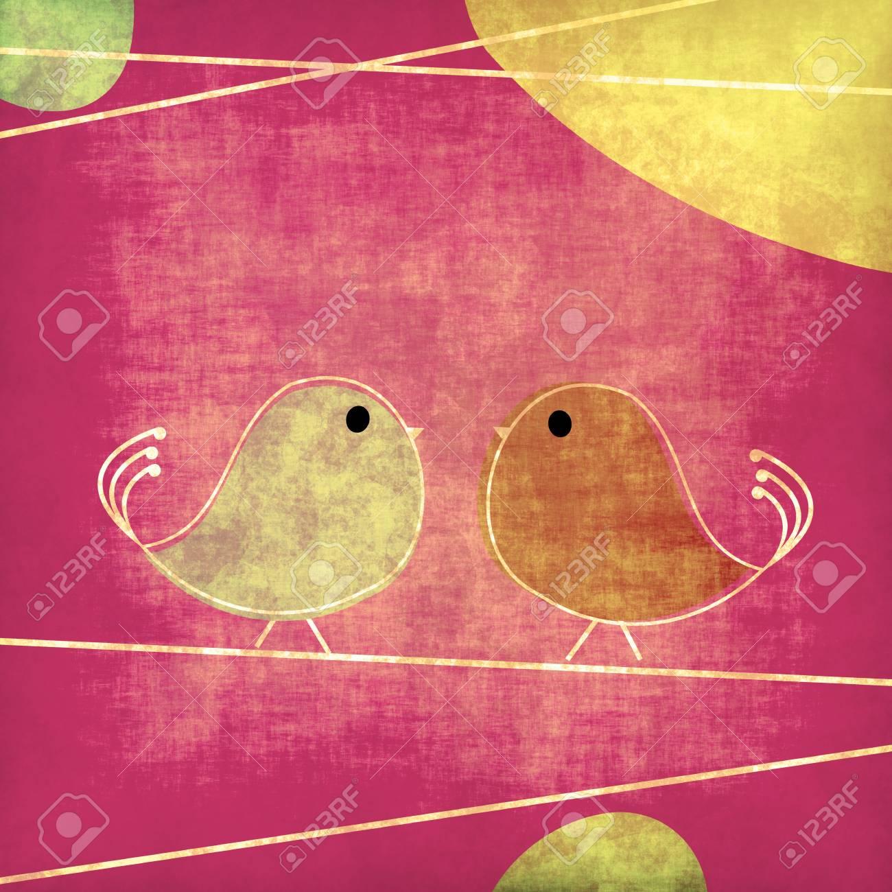 Tweet birds grunge background illustration Stock Illustration - 8486295