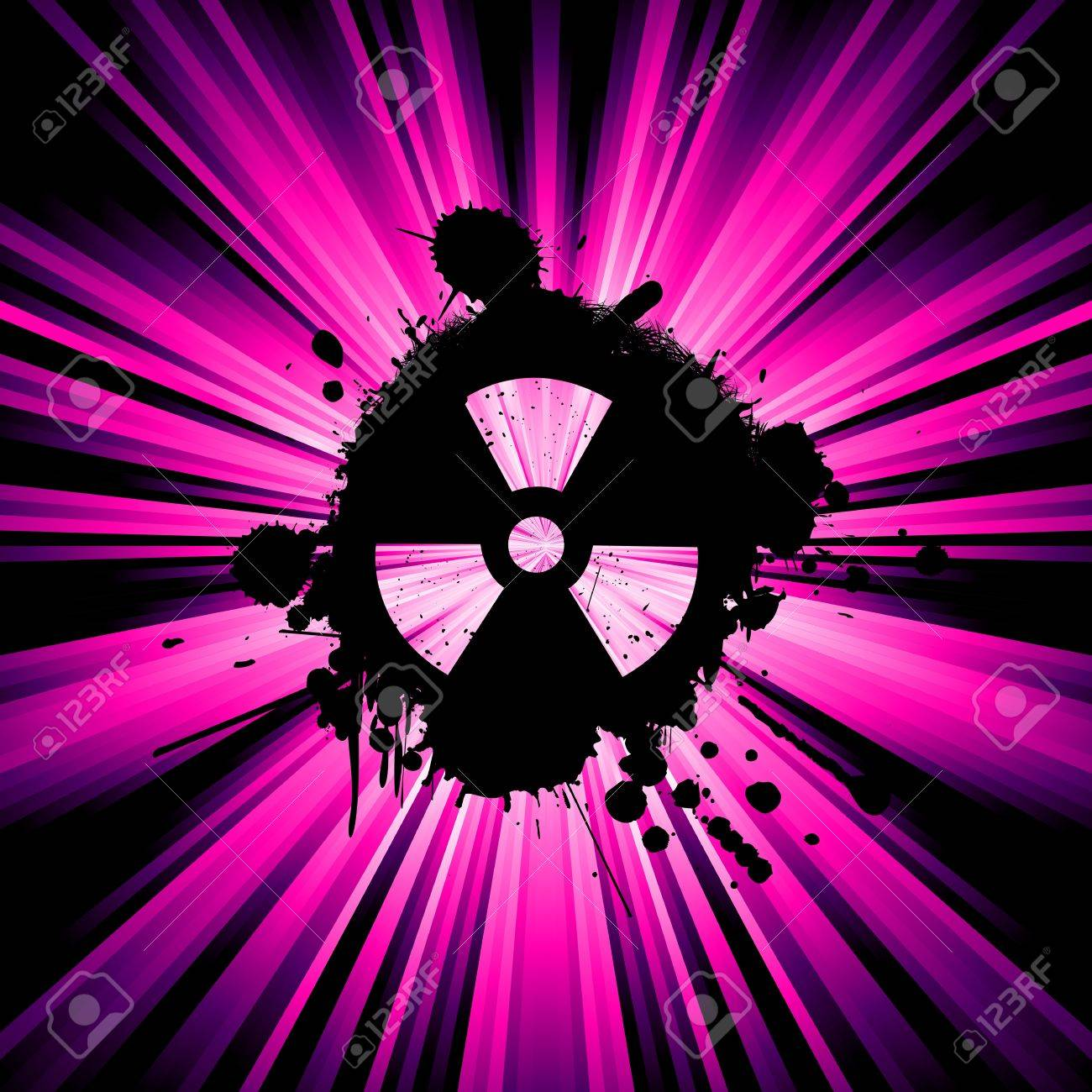 Background With Exploding Rays Nuclear Hazard Symbol Stock Photo