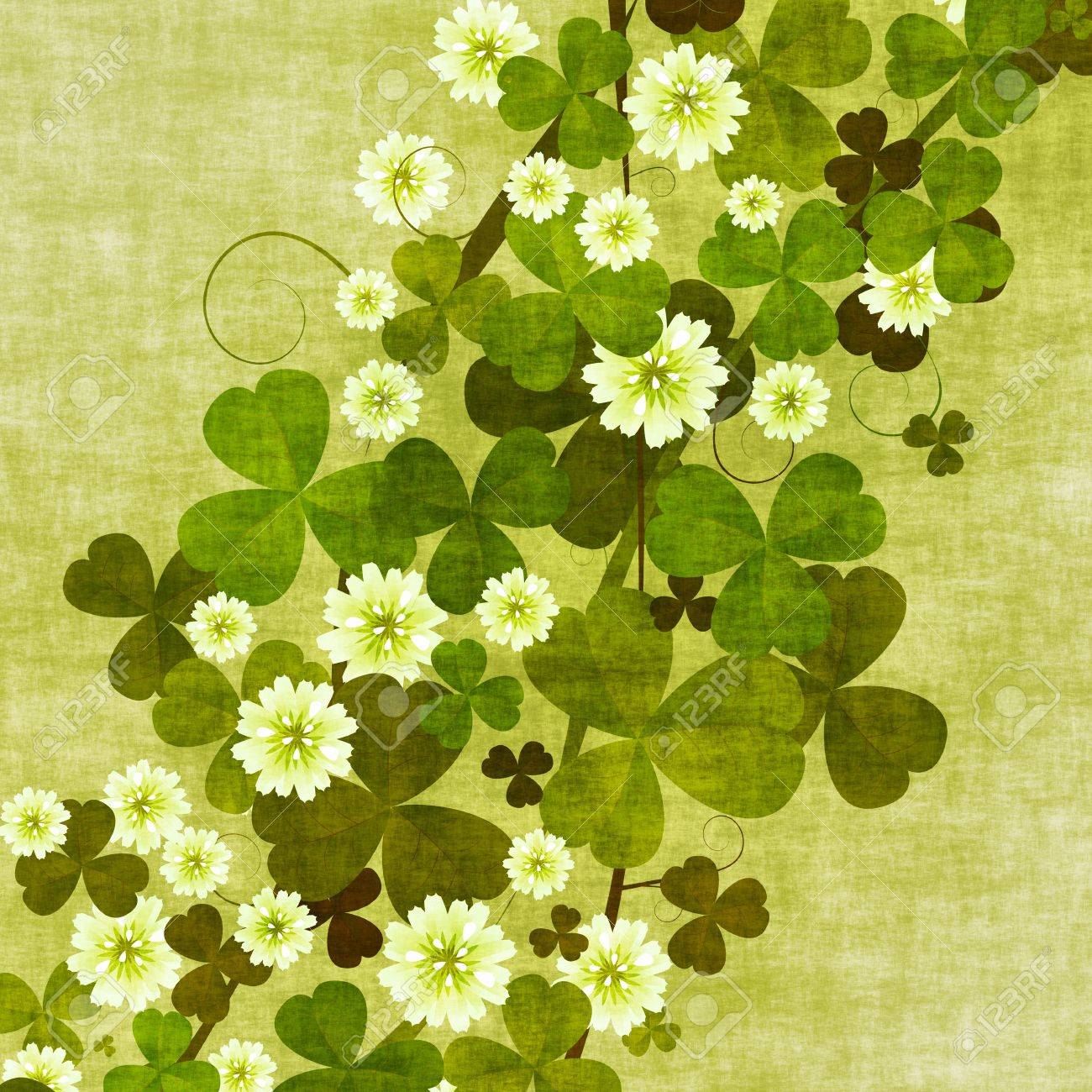 Grunge Floral Background With Clover Leaves And Flowers Stock Photo