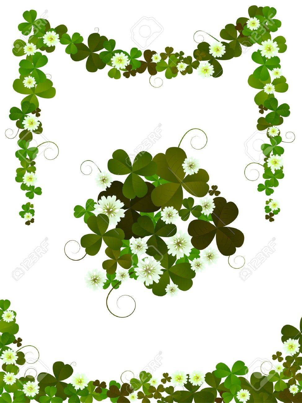 Decorative clover design elements for St.Patrick's Day layouts  against white background Stock Vector - 8901017