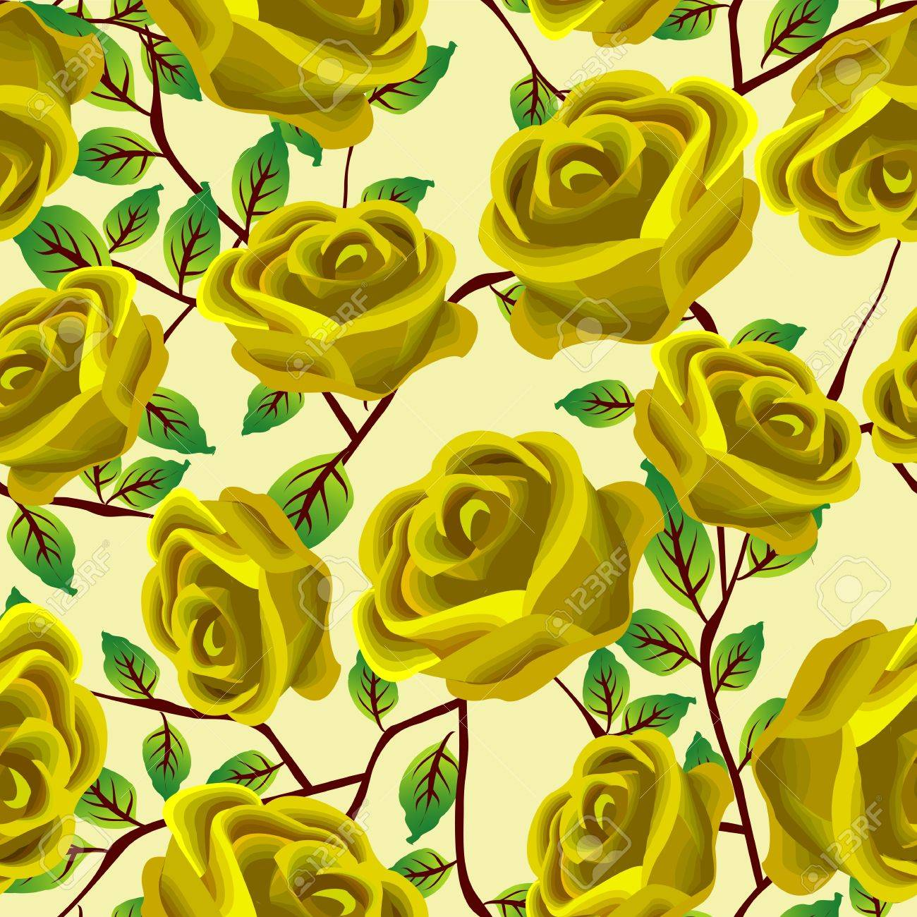 Seamless background design with stylized yellow roses Stock Vector - 8901015