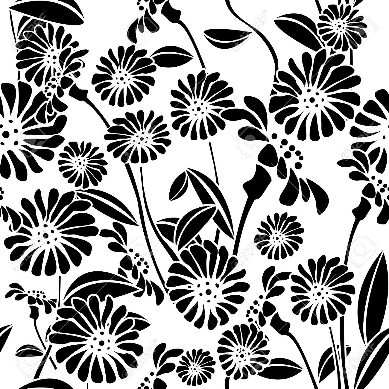 Decorative Floral Background Seamless Pattern In Black And White