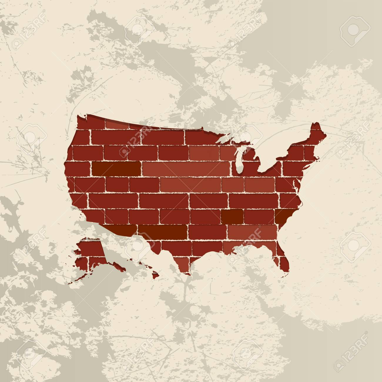 United States Of America Map On A Brick Wall Royalty Free Cliparts - Free united states map graphic