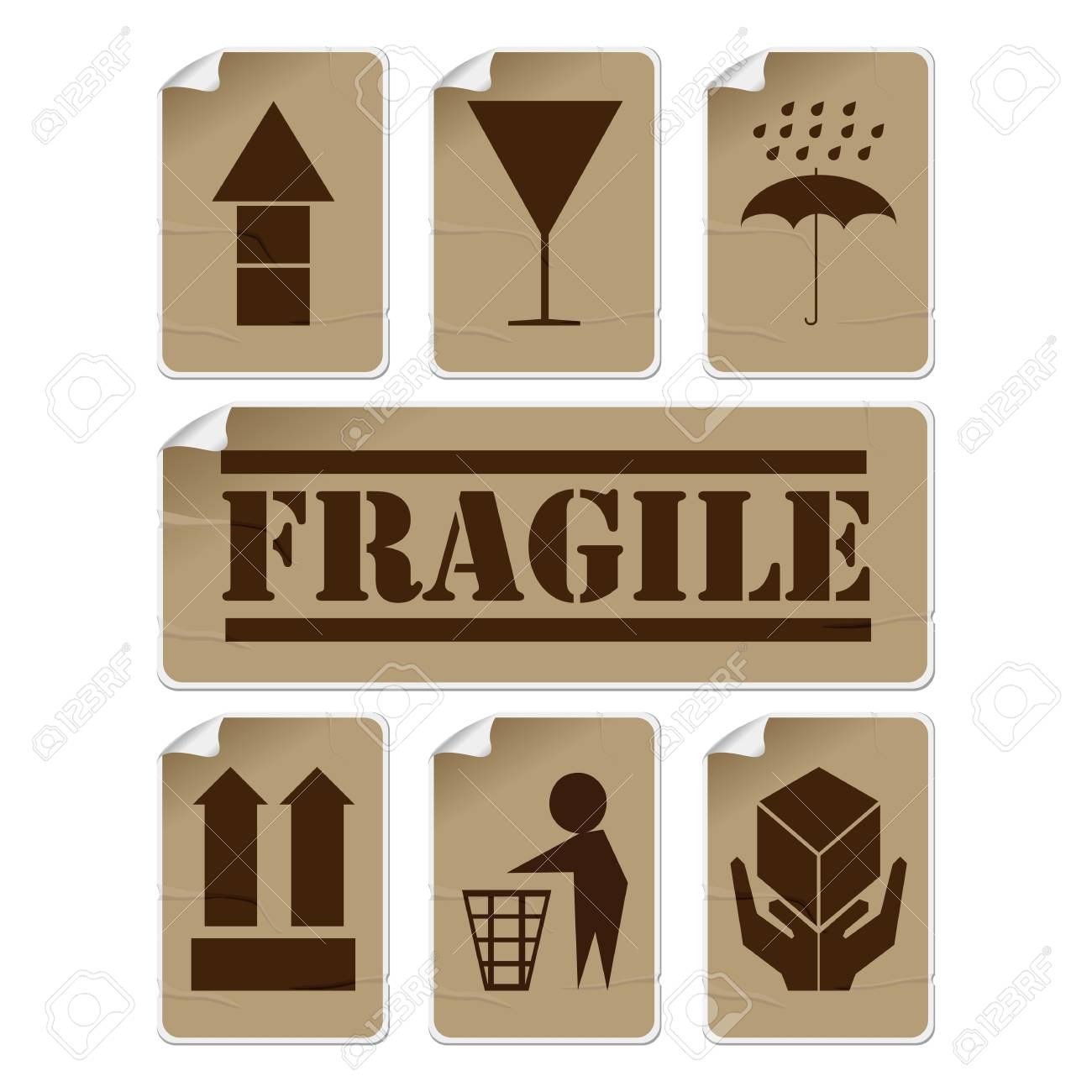 Fragile and safety badly glued stickers, isolated and grouped objects against white background Stock Vector - 9624890