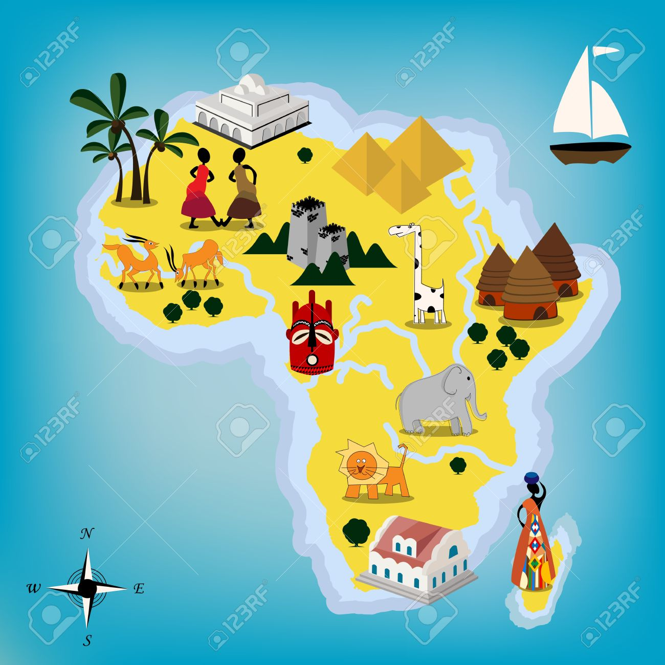 Childlike design of Africa continent Stock Vector - 9705512
