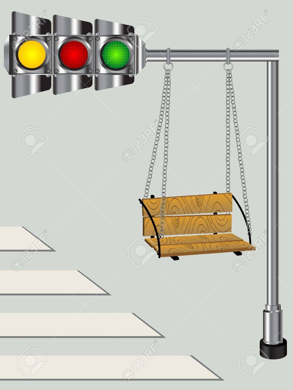 Children swing on a bended traffic lights pole, conceptual graphic Stock Vector - 9861101