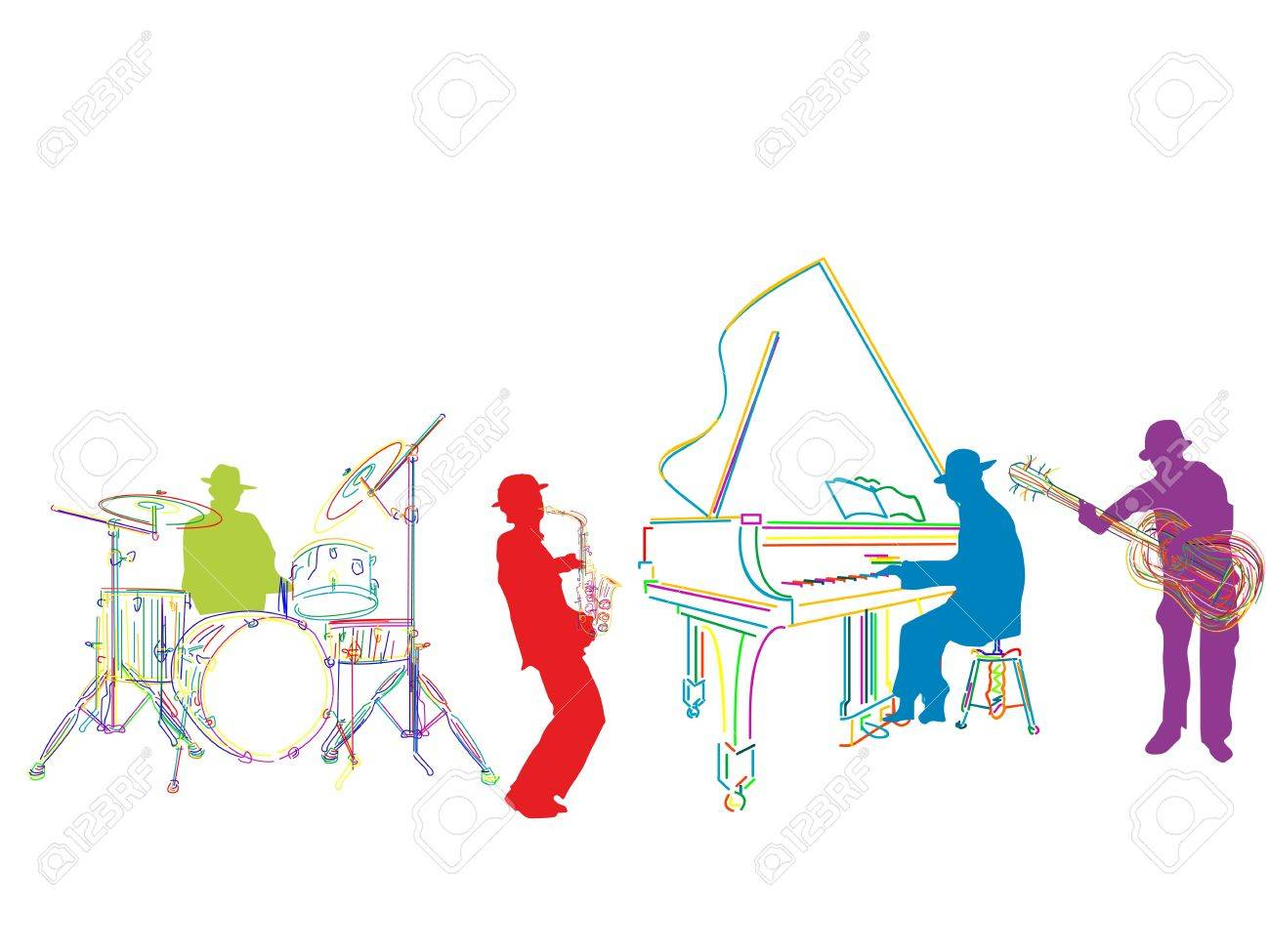 Jazz band sketch, isolated and grouped over white background Stock Vector - 9861107