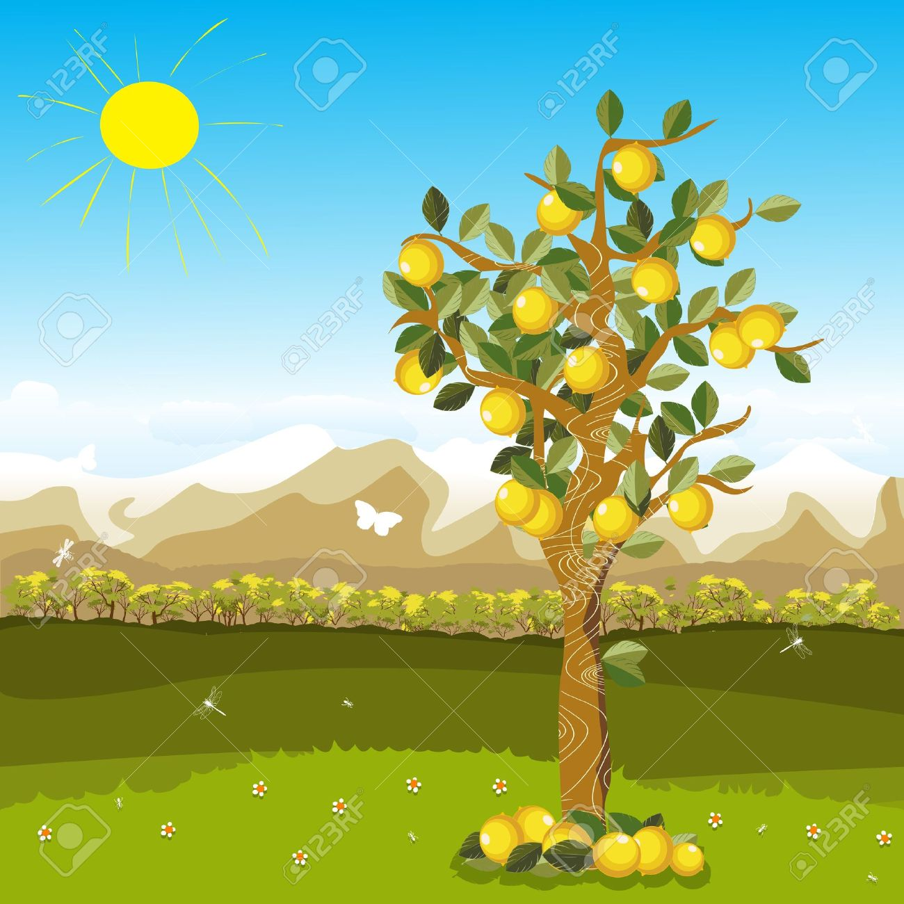 Cartoon illustration of a lemon tree over a beautiful autumn background Stock Vector - 9861125