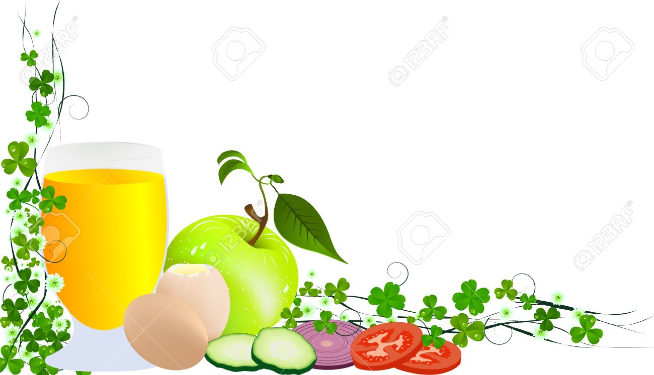 Decorative corner design pattern with fresh fruits and vegetables. Isolated and grouped objects over white background. Stock Vector - 9920707