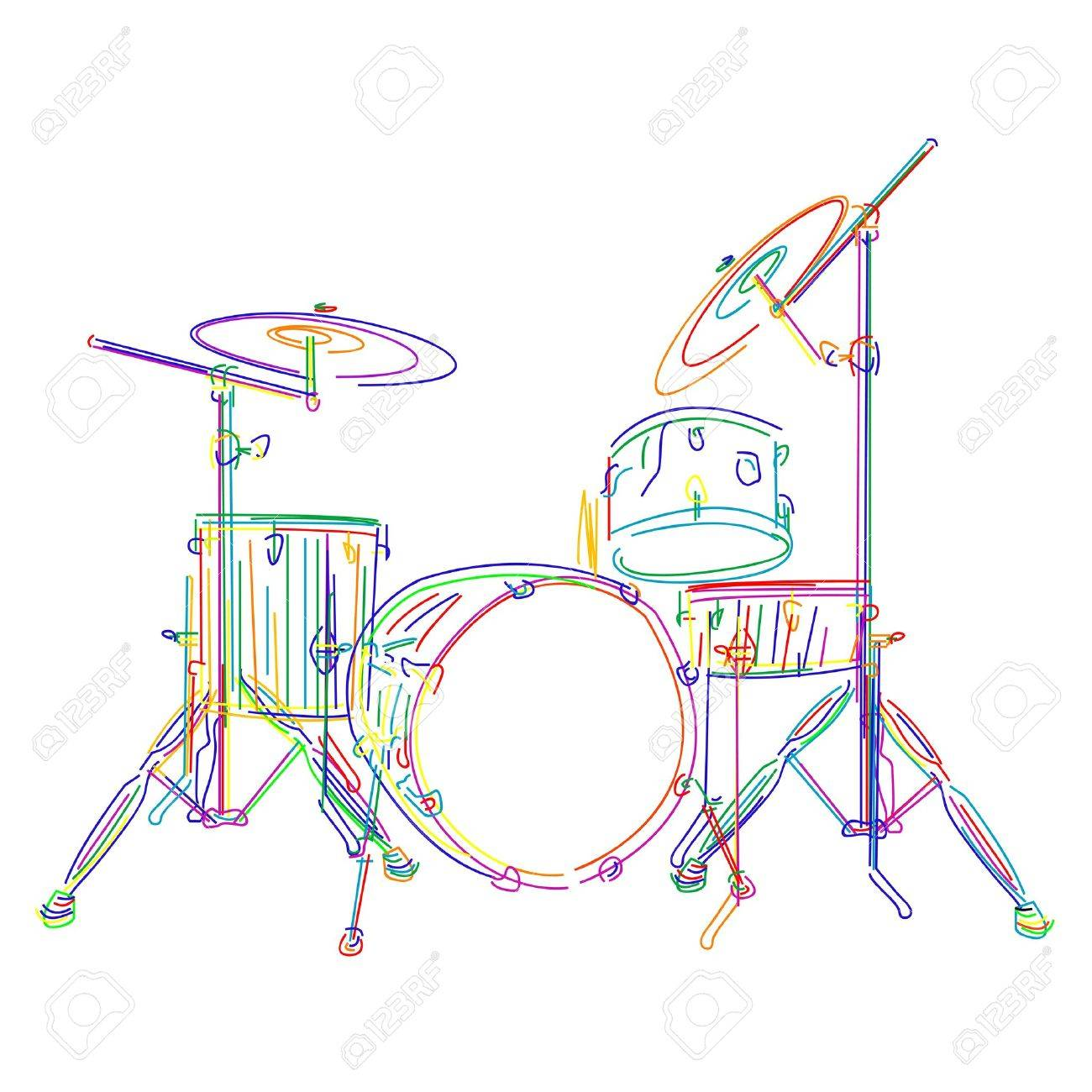 Graphic drums kit over white background Stock Vector - 9946506