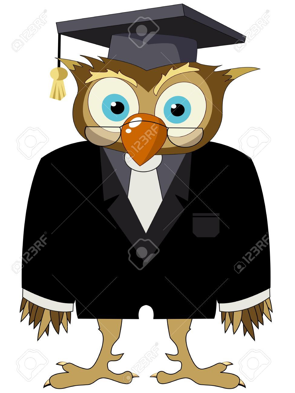 Cartoon drawing of a owl in a suit with graduate hat and glasses Stock Vector - 10135826