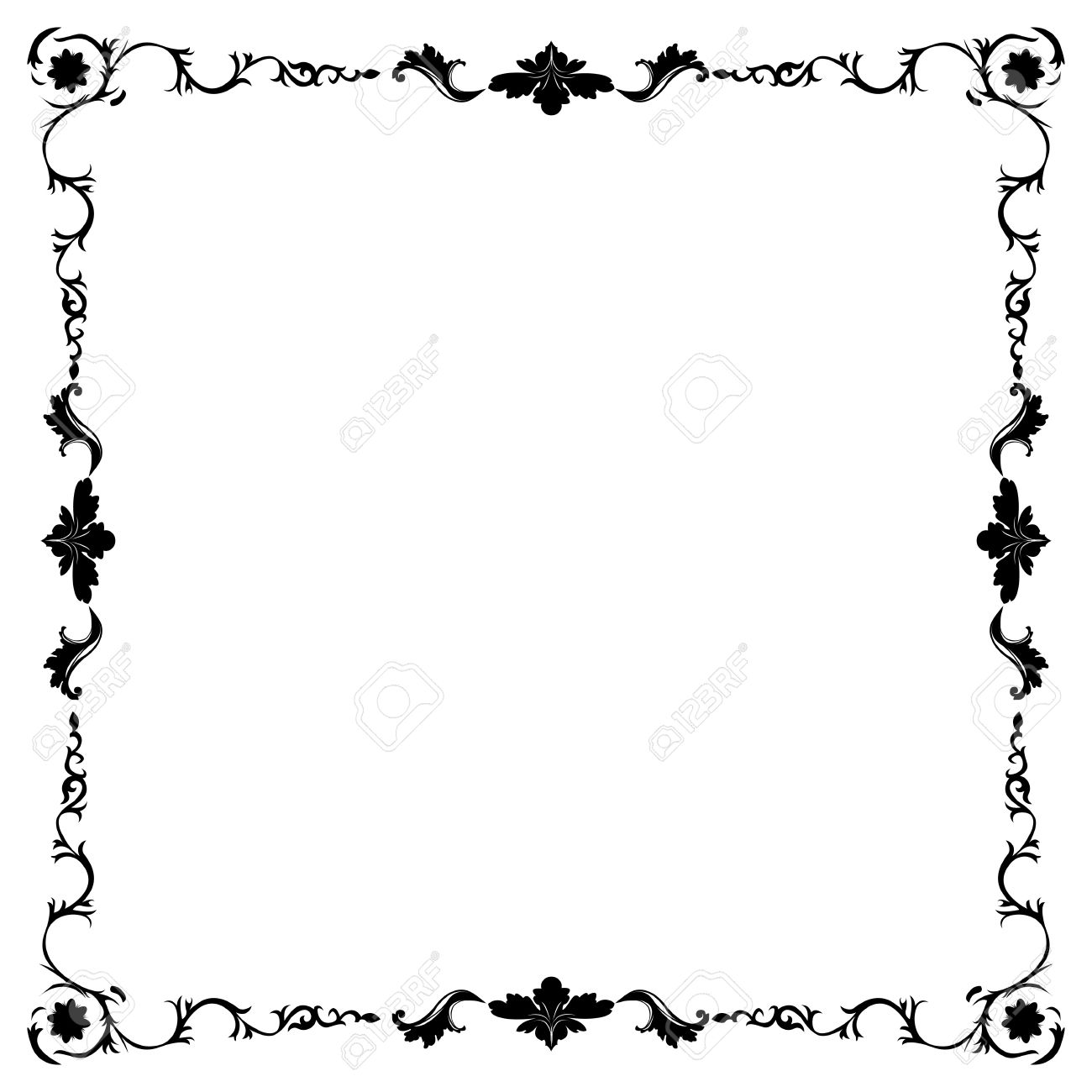 Art Nouveau Black And White Floral Frame Royalty Free Cliparts ...