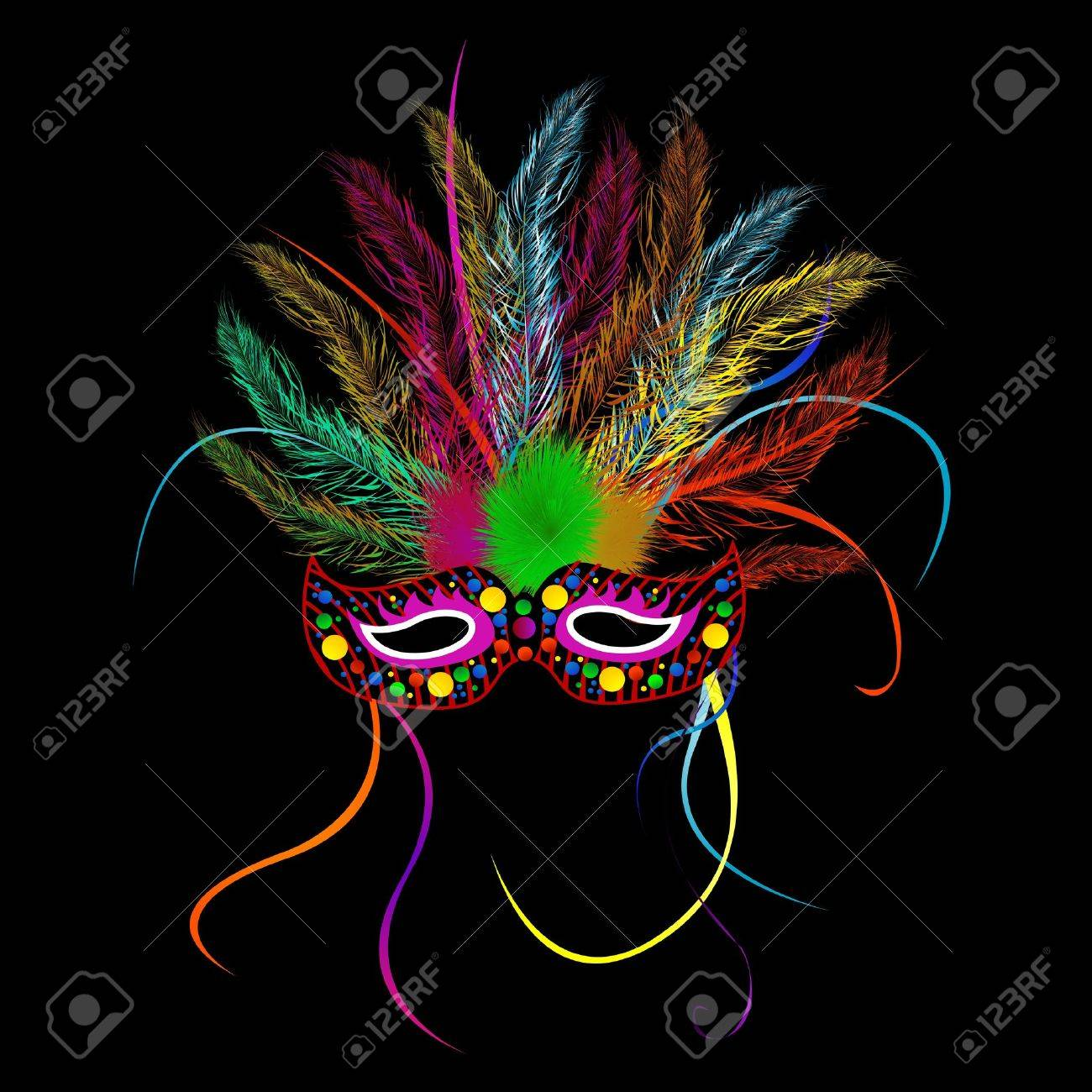 Mardi grass party mask over black background Stock Vector - 10598401