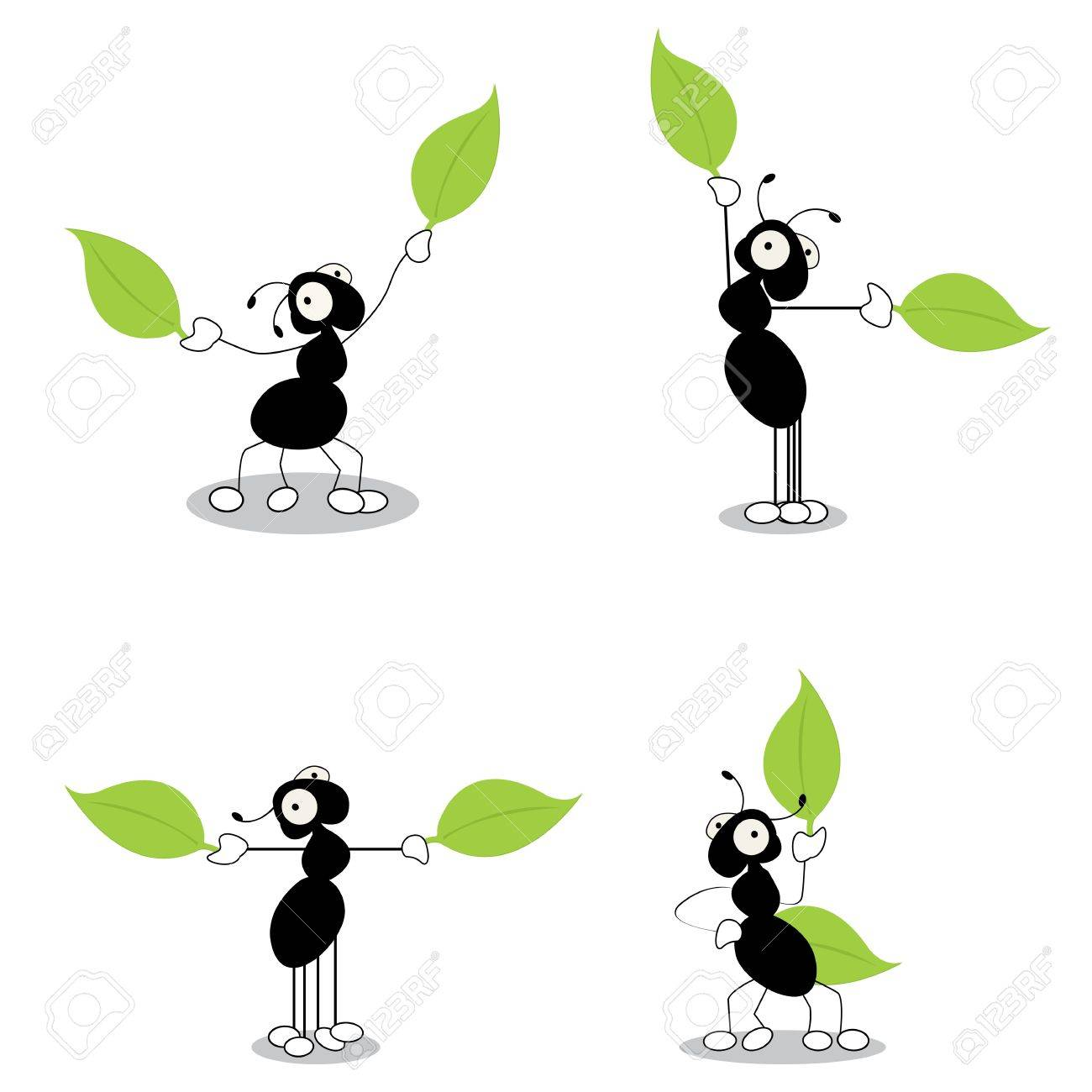 Directing traffic, conceptual cartoon action characters of ants dirrecting traffic with leaves. Isolated and grouped objects over white background. Stock Vector - 10854692