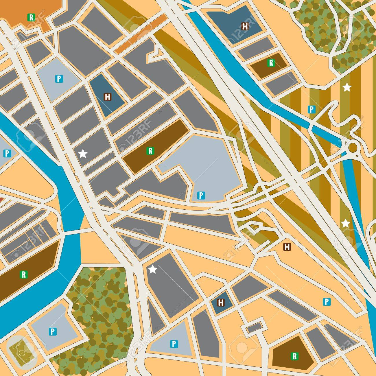 Street map of a city, generic pattern Stock Vector - 10922488